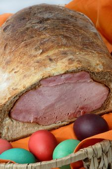 Free Easter Ham On Bread With Colored Eggs Stock Image - 7935951
