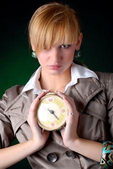 Free Woman With Alarm Clock Stock Image - 7935971