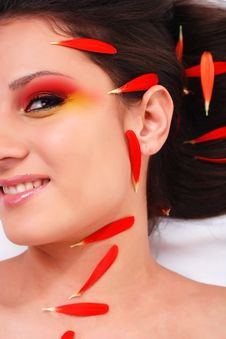 Free Woman With Red Petals Stock Image - 7936531
