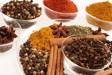 Spices In Small Glass Bowl And Plate Stock Photography