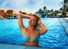 Free Woman Relaxing In The Pool Stock Images - 7937474