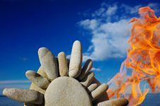 Free Stones On Fire Stock Photography - 7937672