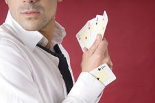 Free Poker Player With One Ace In His Sleeve Royalty Free Stock Photography - 7937797