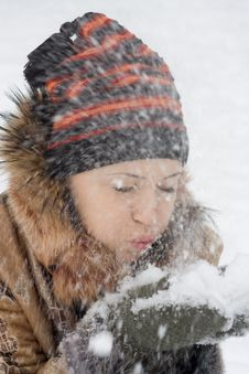 Free Young Woman Blows On Snow Royalty Free Stock Photos - 7937958