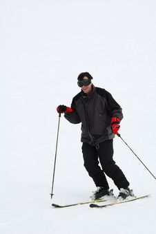 Man Downhill Skiing Royalty Free Stock Photography