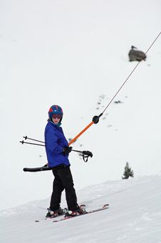 Free Girl Going Up T-bar While Skiing Stock Photos - 7938473