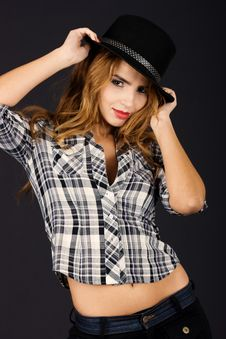 Free Cheerful Woman In Cheked Shirt With Hat Royalty Free Stock Photography - 7938607
