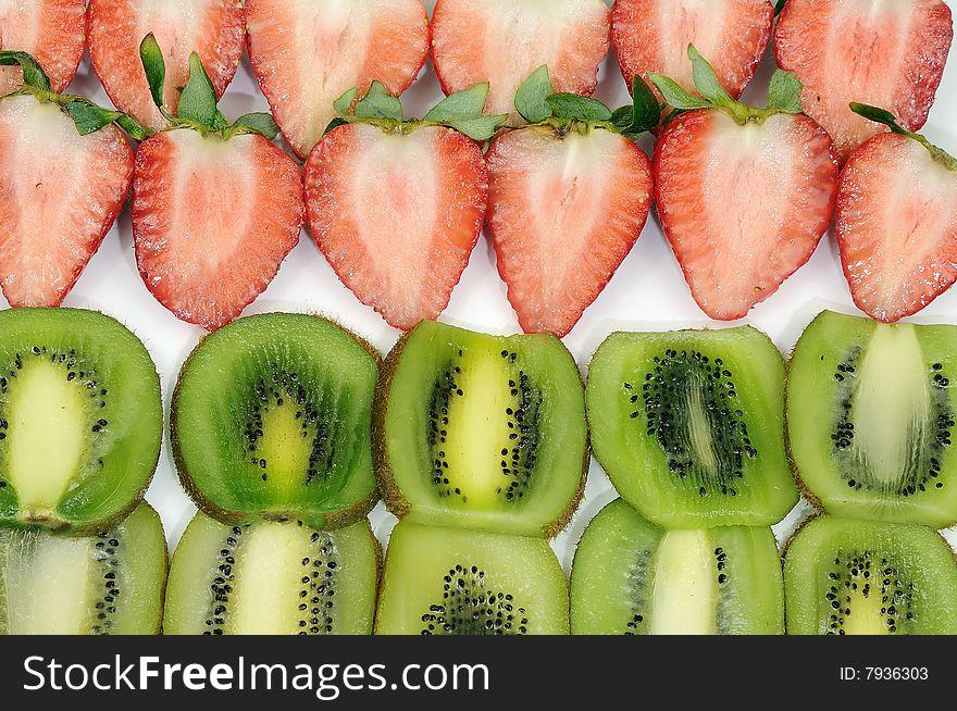 Strawberries and kiwi fruits