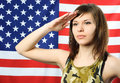 Free Young Woman Wearing Camouflage Salutes Royalty Free Stock Photography - 7944197