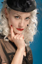 Free Gorgeous Retro Girl In Forties Hat With Feathers Stock Photos - 7947483