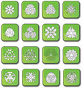 Free Green Glossy Snowflake Icons Stock Images - 7947964