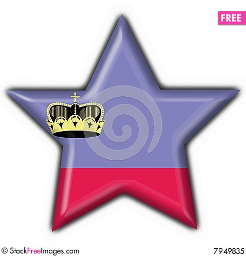 Liechtenstein button flag star shape Stock Photo
