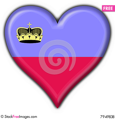 Liechtenstein button flag heart shape Stock Photo