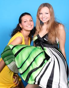 Two Girls Having Fun In Studio Stock Images