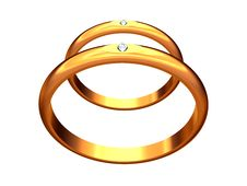 Two Gold Wedding Rings, One Behind Another. Stock Photos