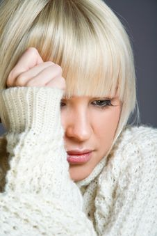 Lovely Blond Woman With A Serious Look Stock Images