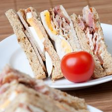 Free Bacon, Egg And Sausage Sandwiches Stock Photography - 7942732