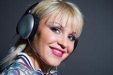 Fashion Woman Listening Music In Headphones Royalty Free Stock Photo