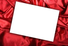 Free Blank White Card On Red Colored Satin Cloth Royalty Free Stock Image - 7943676