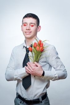 Free Romantic Man With Tulips Stock Photography - 7943782