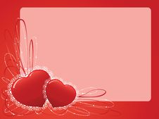 Free Two Hearts With A Pattern With A Place For Text Stock Photos - 7944043
