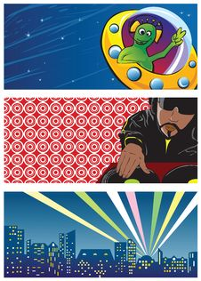 Three Vector Banners For Design Stock Images