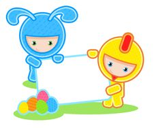 Easter. Kids And Banner Royalty Free Stock Images