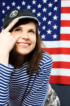 Free Young Sailor Standing Opposite An American Flag Stock Photo - 7944310