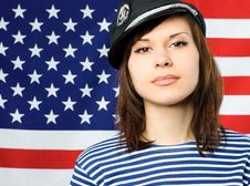Free Young Confident Sailor Near The American Flag Royalty Free Stock Photography - 7944437