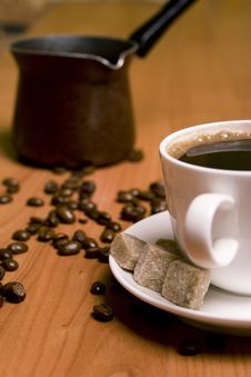 Cup Of Coffee, Sugar And Beans Royalty Free Stock Images