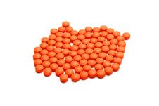 Orange Pills Stock Photo