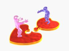 Free 3D Mans On Puzzle Hearts Stock Photography - 7945722
