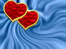 Free Two Hearts On Blue Stock Photography - 7946052