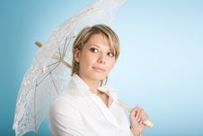Portrait Of Attractive Woman With Lacy Umbrella