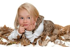 Girl In A Fall Leaves Stock Images