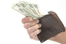 Free Hand Holding Wallet With Twenty Dollar Bills Stock Photos - 7947543