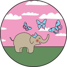 Free Elephant With Butterflies Stock Images - 7947924