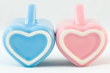 Two Heart-shape Cups On White Background Stock Photos