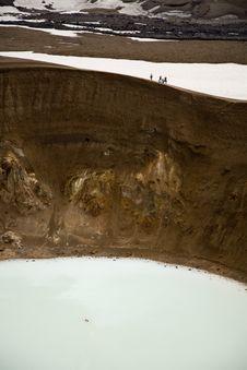 Swimming In The Volcano Crater Viti Stock Photos