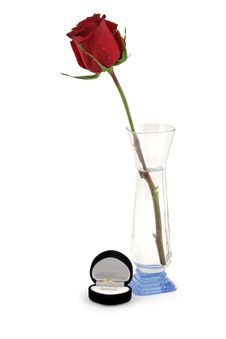 Free Red Rose In A Vase And Black Gift Box. Royalty Free Stock Images - 7949899