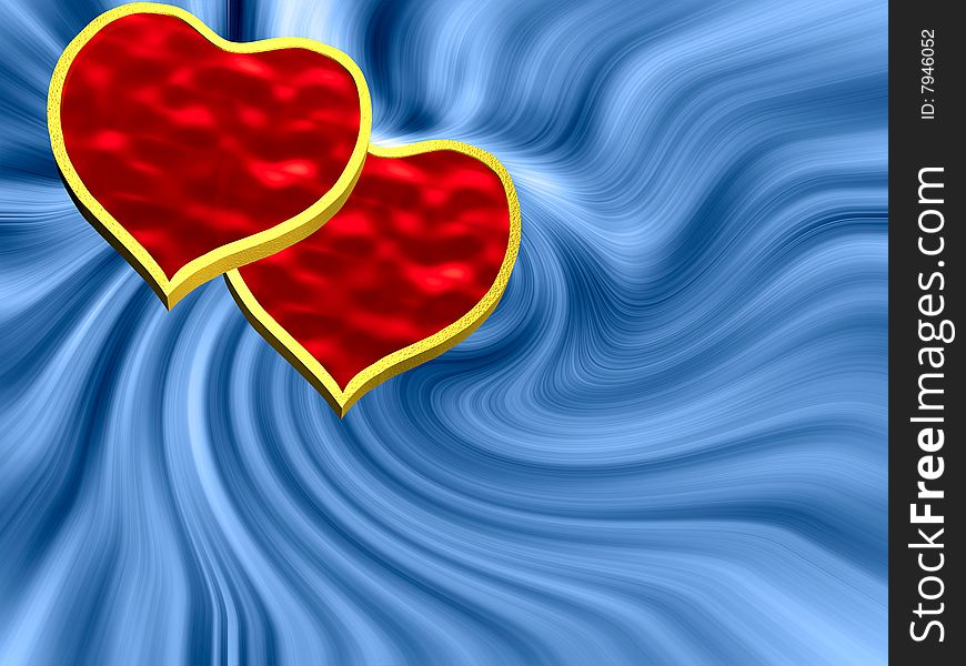 Two hearts on blue