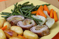 Free Filled Rolled Lamb With Roast Potatoes Royalty Free Stock Images - 7950199