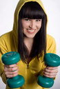 Free Girl With Two Green Dumbbells Royalty Free Stock Photos - 7950218