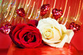 Free Love - Red And White Roses Over Glowing Lights Royalty Free Stock Image - 7959046