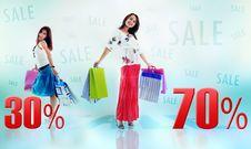 Happy Shopping Girls Stock Image