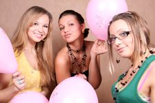 Three Female Friends With Balloons Stock Photography
