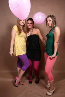 Free Three Female Friends With Balloons Royalty Free Stock Image - 7950316
