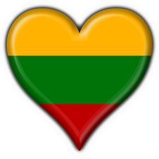 Free Lithuania Button Flag Heart Shape Stock Images - 7950824