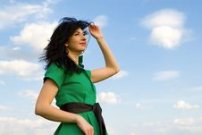 Free Woman In Sky Background Stock Photo - 7951030