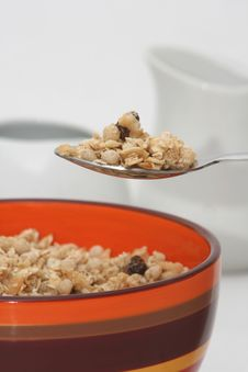 Free Spoon Full Of Granola For A Healthy Breakfast Stock Photo - 7951130